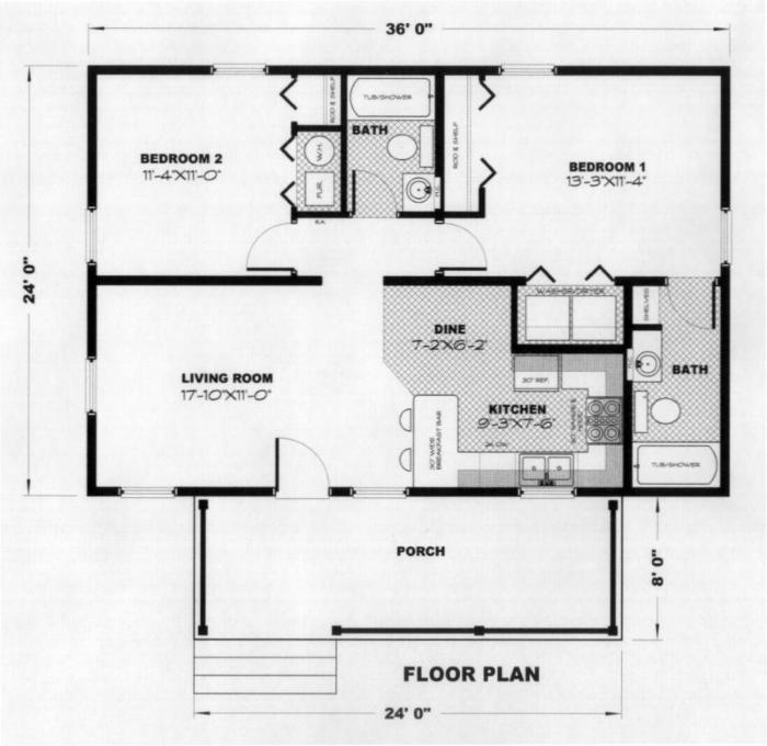 Alberta 2b 864 Sq Ft Cabin Plan
