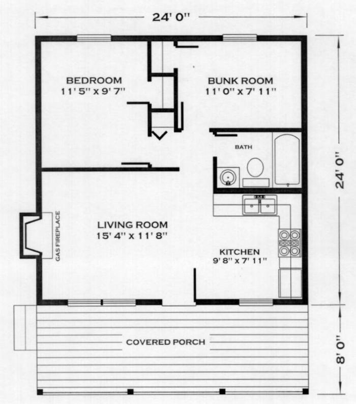 Farmhouse plans cabin floor plans 24x24 house plans