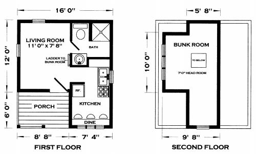 Whitehorse ii cabin plan for Very small cottage house plans